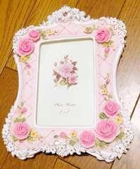 Я】姫系写真立て薔薇 ピンク ゴーシャス  新品