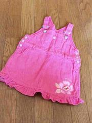 NAFNAFフリル花マーク付可愛いピンク系デニムつなぎスカート90