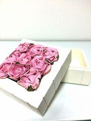 スクエア小物入れピンク姫ローズ3DバラBOXオフホワイト