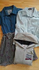 女の子7分袖シャツ&ワンピース長袖パーカー3点セット140