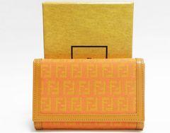 本物 美品 FENDI フェンディ 二つ折り財布 ズッカ オレンジ