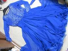 レディース*長袖ロングドレス(ロイヤルブルー)衣装