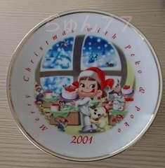 新品☆ぺこちゃん★2001年クリスマスケーキ皿/非売品X'mas☆FUJIYA