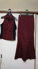 試着のみストライプ黒&赤ロングスカートベストスーツ