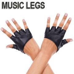 A626)MusicLegs合皮フィンガーレスハーフグローブ黒ブラックフェイクレザーダンス衣装