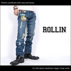 Rollin(ローリン)ダメージワッペンデニムパンツ/M アメカジ