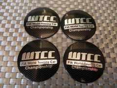FIA WTCC黒カーボン調56mmセンターキャップステッカー4枚