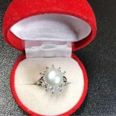 送料無料!新品 Pt プラチナ 本物 真珠 リング 指輪 12号 3chung