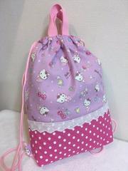キティちゃん(パープル)☆2wayバッグ(お着替え袋)ハンドメイド