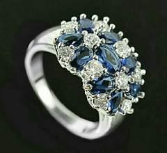 1円〜◆Double flower Sapphire Ring12号
