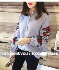 3L大きいサイズ/お花刺繍〜ストライプシャツ