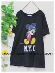 新作☆大きいサイズ☆3Lブラック☆前サングラスミッキー☆ストレッチTシャツ