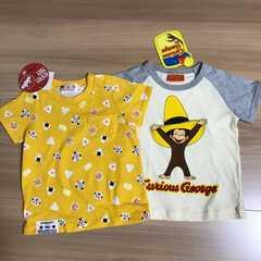 新品タグ付き90半袖Tシャツ2枚 アンパンマン おさるのジョージ