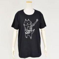 mintNeko・ギター&ネコイラストTシャツ。ブラック