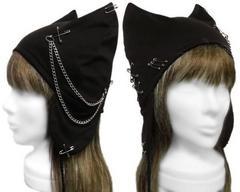 ハンドメイド◆パンク[チェーン&ピン飾] 耳あて付ネコ耳帽子◆黒