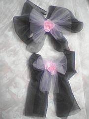 1☆71送込〓ママとペアの浴衣帯〓飾り〓黒にピンク〓