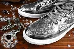 送料込 ラメ ハイカット スニーカー 靴 メンズ シューズ 厚底 オラオラ ダンス 107銀27.0