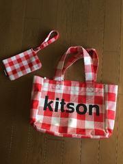 Kitsonチェックトートバック赤×白送料込み!