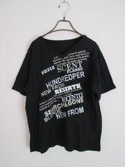 即決/ロゴラメVネック半袖Tシャツ/大きいサイズ3L/黒