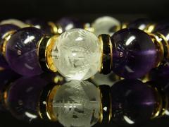 豪華16mm!!素彫四神獣水晶×アメジスト数珠ブレスレット