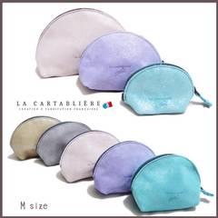 LA CARTABLIEREフランス製きらきらスエード 半円ポーチ#Lヘ