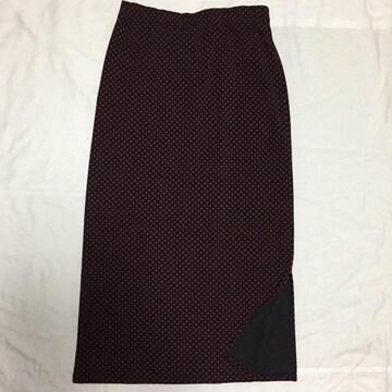 伸縮性抜群 タイトスカート ロングスカート M〜L 赤×黒 水玉