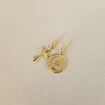 新品☆K18クロス&コインデザイントップ2個セットお買い得!