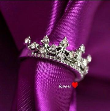 送料無料8号シルバースーパーCZダイヤクラウン王冠リング指輪