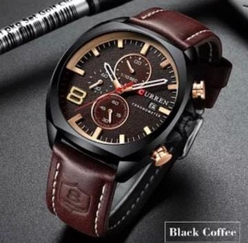 新作正規CURREN腕時計◆ブラウンMIX BIGフェイス◆海外限定