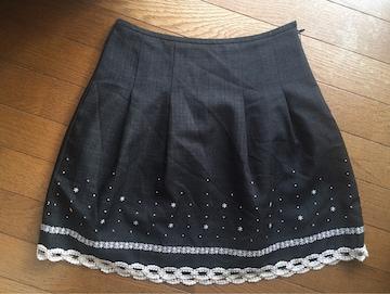 φGS Pinky Girls LUX ダークグレー 裾刺繍 レース スカート N2m