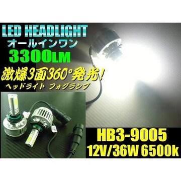 送料無料!HB3型ハイビーム用一体型COB-LEDヘッドライト白色
