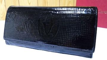 正規 カルティエ ハッピーバースデー 2Cロゴ長財布黒 パテントエナメルコーティング メンズ