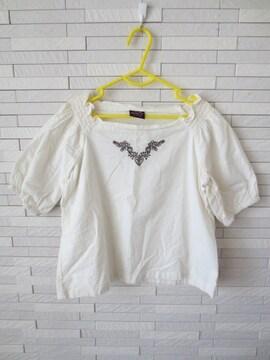 即決/Dolly Ribbon/七分袖刺繍綿スモックブラウス/ナチュラル120