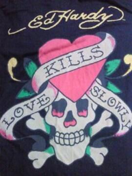 EdHardy エドハーディー 長袖 Tシャツ LOVE KILLS SLOWLY 黒 ハート ドクロ M