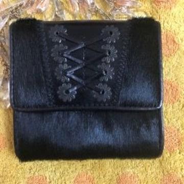 ラルフローレン☆ハラコ黒折財布