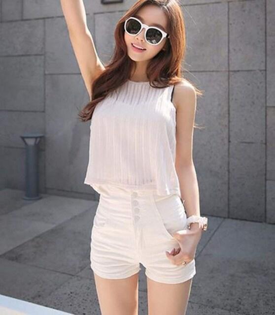 ハイウエスト ストレッチ デニムショートパンツ(XL寸・白) < 女性ファッションの