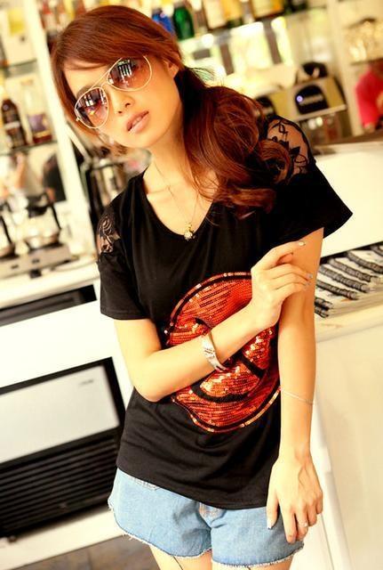 【4L】大きいサイズ*イカリマーク肩背中透けレースTシャツ 黒 ブラック*即決  < 女性ファッションの