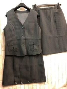 新品☆11号ベストスーツ2種スカート丈56事務服黒ストライプn770