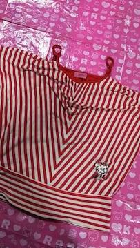 ジェニィ  JENNI  袖無し トップス  赤&白  130cm