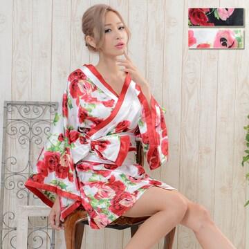 帯付きバラ花柄サテンミニドレス 和柄 衣装 ダンス  チャムドレス