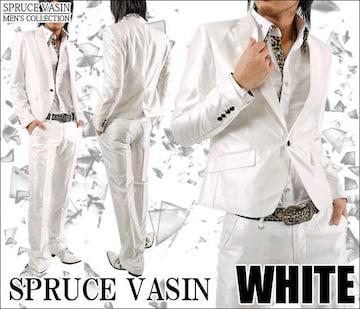 ショート丈光沢地シャンブレースーツ■ホワイトS
