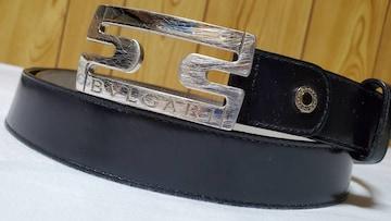 正規 ブルガリ ロゴ文字×パレンテシ オープンワークバックルベルト黒 95 シルバークロス