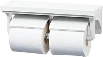 色BW1(ピュアホワイト) LIXIL(リクシル) INAXトイレ用 棚付2連紙