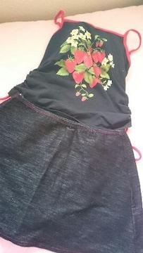 イチゴ柄 デニム風スカート付き水着