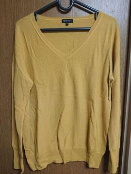 INDIVI昨季新品イエローウール100%長袖Vネックニットセーター大きいサイズ4213号
