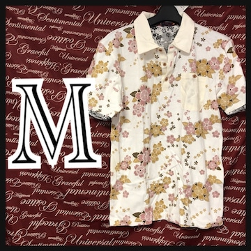 M・和柄桜総柄ポロ新品白/MCR407-004