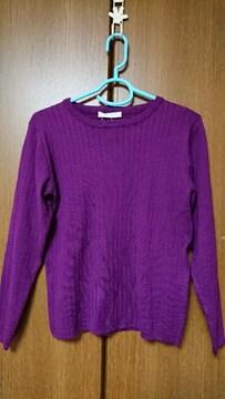 77◆ セーター/プルオーバー*ワイドリブ*紫/パープル*F