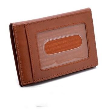 牛革 二つ折り カードケース 定期入れ キャメル