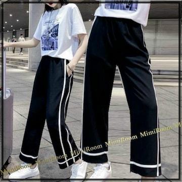〜3L4L【大きいサイズ】ホワイトライン☆スエット調パンツ