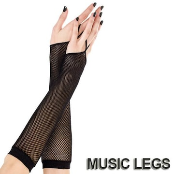 A621)MusicLegsフィッシュネットワンフィンガーアームグローブ 黒 ブラック